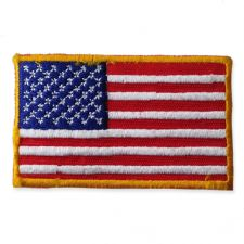 AMERICAN FLAG MOTIF IRON ON EMBROIDERED PATCH APPLIQUE